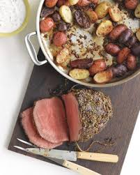 rosemary garlic roast beef and potatoes with horseradish sauce