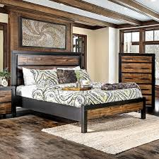 Oak Platform Bed Furniture Of America Marson Rustic Two Tone Black Oak Platform Bed
