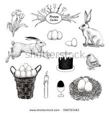 easter eggs basket vintage set on stock vector 598783463