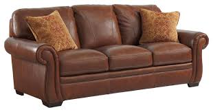 Transitional Sofas Furniture Halston Leather Sofa With 2 Pillows Transitional Sofas By