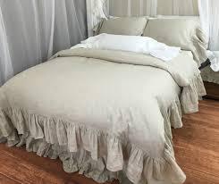 natural linen duvet cover with mermaid long ruffle linen