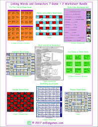 linking words and connectors 7 game plus 2 worksheet bundle by