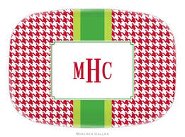 personalized melamine platters personalized melamine alex houndstooth platter from