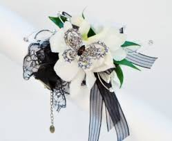 black and white corsage vintage lace in black and white wrist corsage in wi a