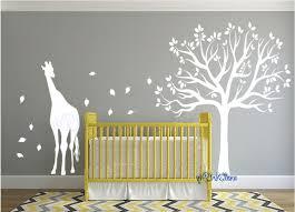 Giraffe Wall Decals For Nursery Baby Nursery Wildlife Animal Nursery Wall Decal Forest Tree Wall