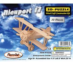 amazon com 3 d wooden puzzle small biplane model nieuport 17