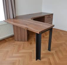 great wood slab corner desk with storage and steel legs 801 a