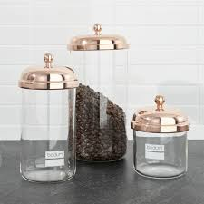 copper kitchen canisters bodum chambord classic copper storage jars set of 3 crate and