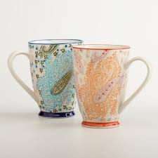 paisley mugs set of 2 world market housewares pinterest