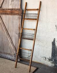 park hill ladder with wire display basket hc542