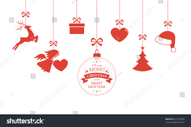 various hanging christmas ornaments such christmas stock vector