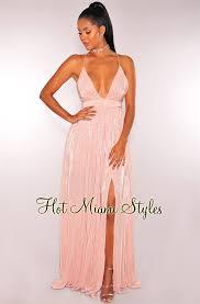 blush maxi dress metallic ribbed crisscross back maxi dress