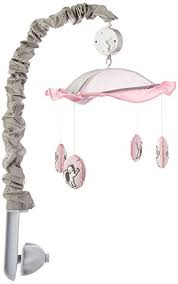 amazon com geenny musical mobile pink gray elephant baby