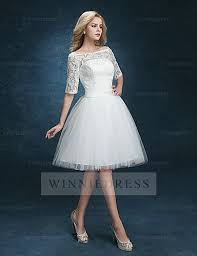 white dress shop discount half sleeve knee length bateau lace reception