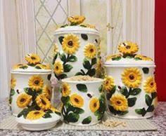 sunflower canister sets kitchen sunflower kitchen decor decorations ceramic sunflower large