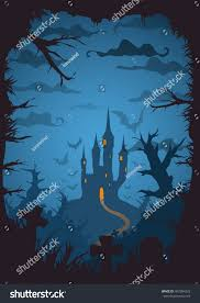 blue colored vector halloween background castle stock vector