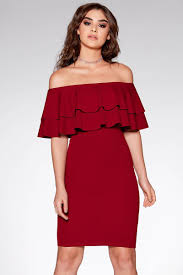 bodycon dress berry frill bardot bodycon dress quiz clothing