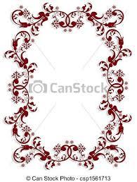 drawings of ornamental floral border 3d illustration for