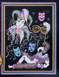 cardsadult mardi gras mask of mardi gras purples periwinkles2 by crossstitchrinna