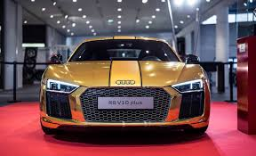 audi r8 modified one off gold audi r8 v10 plus showcased in germany motoroids