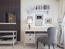 White Office Decorating Ideas Wondrous Corner White Home Office Design With Single White Desk