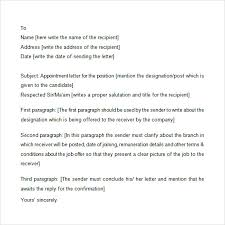 appointment letter 7 free samples examples format