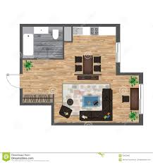 architectural color floor plan studio apartment vector