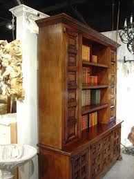 large oak bookcase with iron hardware from spain early 1900s at