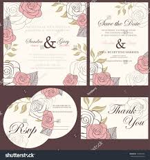 Invitation Card With Rsvp Wedding Invitation Cards Set Thank You Stock Vector 136842302