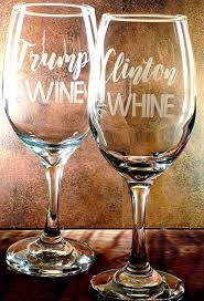 trump wine clinton whine satirical wine glass set gift for