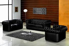 Modern Black Leather Sofas Living Room Great Elegant Black Leather Sofa Sets For Living