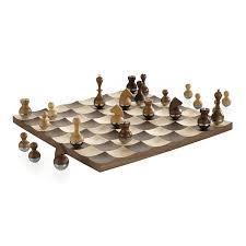 umbra wobble chess set wooden curvy modern design collectors gift