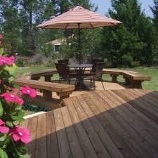 wood deck with built in benches archadeck outdoor living