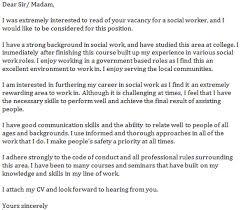 social work sample cover letter