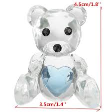 crystal bear blue heart christening baby shower favor home party