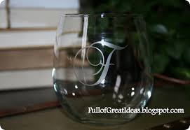 diy monogram wine glasses etched monogram wine glasses