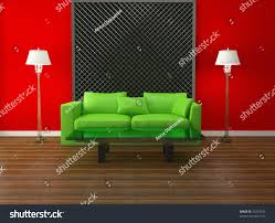 Bright Green Sofa Bright Interior Design Modern Living Room Stock Illustration