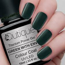 qutique green with envy soak off led uv gel nail polish colour