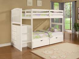 Wood Bunk Bed Plans Bedroom Captivating Pink Sheet White Wooden Bunk Bed And White