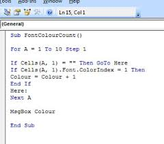 count cells based on font colour