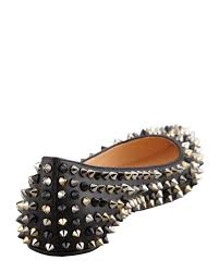 christian louboutin pigalle spikes point toe red sole flat black