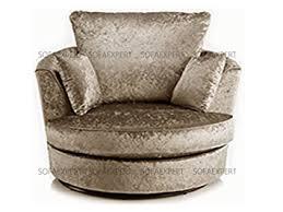 Swivel Cuddle Chair Dylan Crush Velvet Fabric Swivel 360 Rotate Cuddle Chair Tub