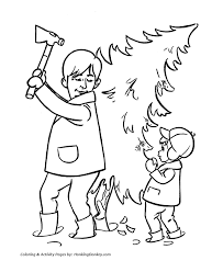 christmas tree coloring pages cutting down the christmas tree