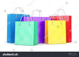 group color paper shopping bags isolated stock illustration