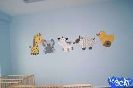 fresque chambre bébé fresque girafe éléphant zèbre mouton canard byscat fresque