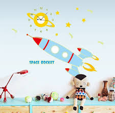 cartoon spaceship rocket clock stickers walldecals fluorescence cartoon spaceship rocket clock stickers walldecals fluorescence stickers glow in the dark nursery removable wall stickers murals in wall stickers from home