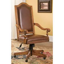 swivel brown wooden dining chair with brown leather seat cover and