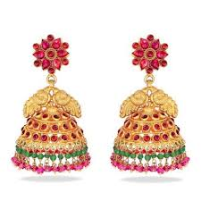 temple design gold earrings nimah collection at candere a kalyan jewellers company