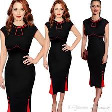 online cheap plus size color block formal working dress party