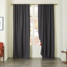 Lined Linen Drapery Panels Belgian Flax Linen Curtain Slate West Elm